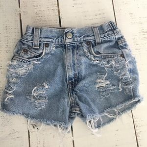 4t Kids Vintage Levi Distressed High Waist Shorts